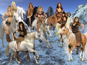 The Team of Hot, Sexy Cave Babes working together to tame a Wild Horse