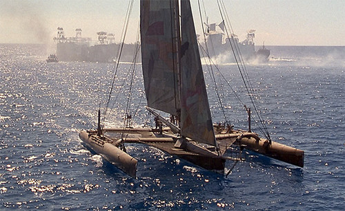 Waterworld wallpaper possibly with a trimaran called Trimarine Image 2