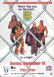 World Championship Wrestling Hintergrund with a chainlink fence, a penal institution, and a holding cell entitled WCW Fall Brawl 1996