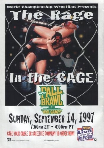 World Championship Wrestling achtergrond containing a chainlink fence called WCW Fall Brawl 1997