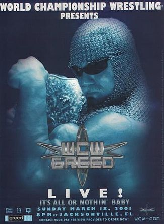 World Championship Wrestling Hintergrund possibly with a sign called WCW Greed 2001