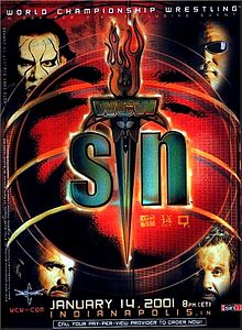 World Championship Wrestling Hintergrund possibly containing a stained glass window and Anime titled WCW Sin 2001