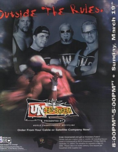 World Championship Wrestling Hintergrund with Anime called WCW Uncensored 2000
