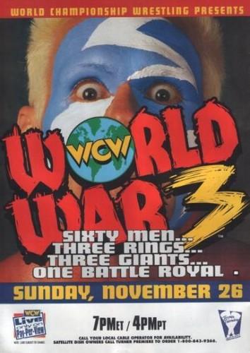 World Championship Wrestling Hintergrund with Anime titled WCW World War 3 1995