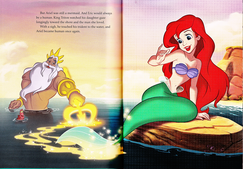 Walt Disney Characters wallpaper probably containing anime called Walt Disney Book Scans - The Little Mermaid: The Story of Ariel (English Version)