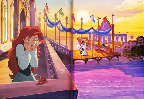 Walt Disney Characters wallpaper possibly containing a street entitled Walt Disney Book Scans - The Little Mermaid: The Story of Ariel (English Version)
