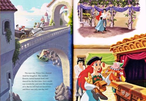 personnages de Walt Disney fond d'écran possibly containing a street, a newspaper, and animé titled Walt Disney Book Scans - The Little Mermaid: The Story of Ariel (English Version)