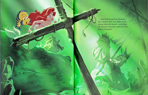 personaggi Disney wallpaper probably containing a sign and a bouquet called Walt Disney Book Scans - The Little Mermaid: The Story of Ariel (English Version)