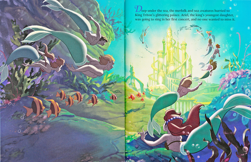 Walt Disney Characters wallpaper containing anime called Walt Disney Book Scans - The Little Mermaid: The Story of Ariel (English Version)