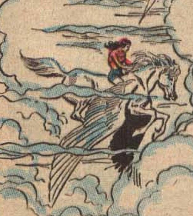 Wonder Woman rides on her Peagsus