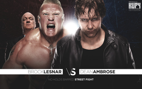 WWE wallpaper possibly with a sign, a hunk, and a portrait titled Wrestlemania 32 - Brock Lesnar vs Dean Ambrose
