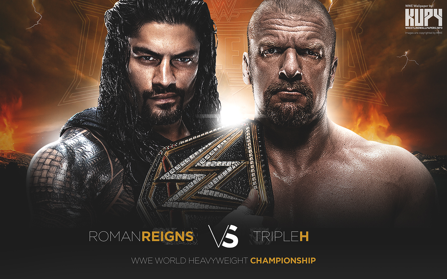 wrestlemania 32 triple h vs roman reigns wwe wallpaper