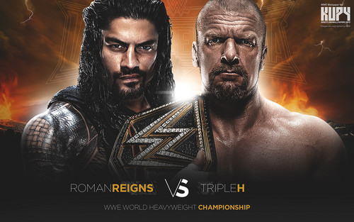 WWE wallpaper possibly with anime titled Wrestlemania 32 - Triple H vs Roman Reigns