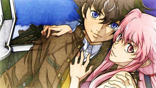 mirai nikki Обои containing Аниме titled Yukiteru and Yuno