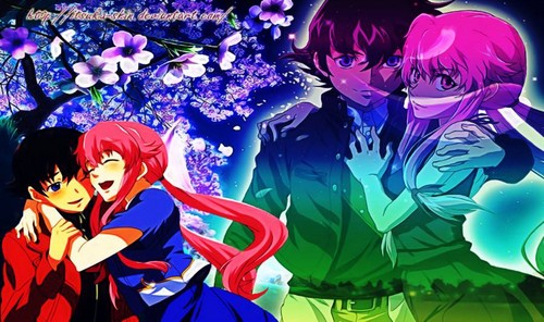 mirai nikki wallpaper probably containing anime titled Yukiteru and Yuno