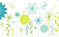 butterflies and spring flowers on a white surface  - spring wallpaper
