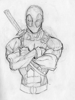 deadpool sketch por ellisonillustrations d5iv30x
