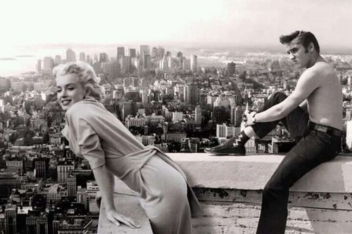 celebrità che sono morte giovani wallpaper containing a hip boot called elvis presley and marilyn monroe