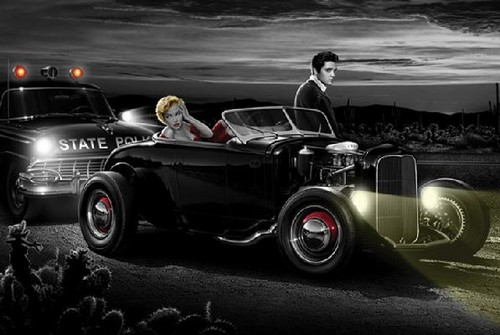 selebriti yang meninggal muda wallpaper probably with a hot rod entitled elvis presley and marilyn monroe