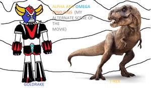goldrake vs t rex alternate scene of the movie