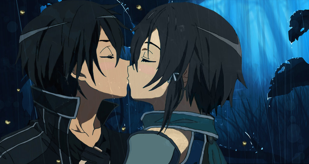 SAO Couples Images Kirito And Sinon Kiss HD Wallpaper Background Photos