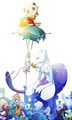 mew and mewtwo - pokemon fan art