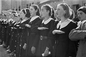 Albanian school girls singing, 1938.