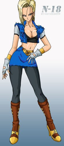 dragon ball z wallpaper possibly with a hip boot, a legging, and animê called ANDROID 18