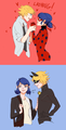 Adrien and Ladybug/Marinette and Chat Noir