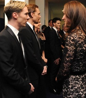 Benedict and Tom meeting Duchess Kate