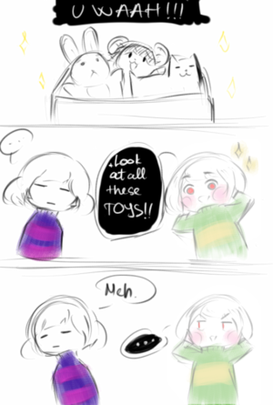 Chara and Frisk look in the toy box
