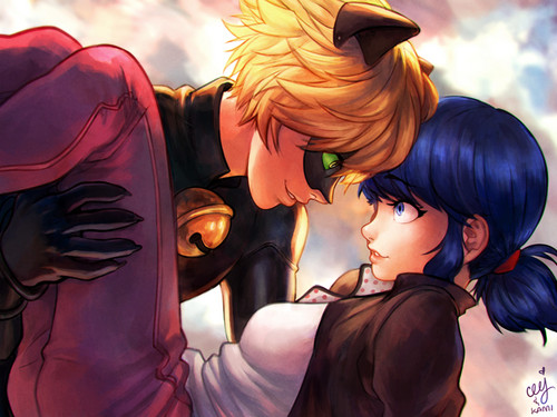 Miraculous Ladybug Hintergrund probably with Anime titled Chat Noir and Marinette