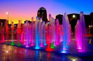 Colorful water fountains