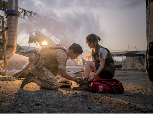 Korean Dramas پیپر وال possibly containing a آگ کے, آگ called Descendants of the Sun