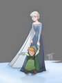 Elsa with Anna's daughter - frozen fan art