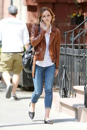 Emma Watson Has Breakfast In The West Village on April, 25