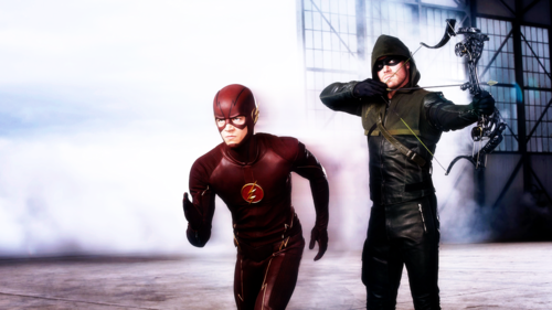 The Flash (CW) वॉलपेपर possibly with a workwear, वर्कवेअर and a green बेरेत, बीरेट, टोपी called Flarrow