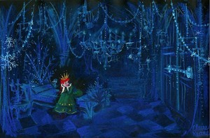 Frozen Concept Art - Anna locked in her room/prison in Elsa's ice castello