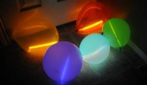 Glow sticks inside balloons