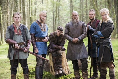 vikings (serial tv) wallpaper probably containing a rifleman, a green beret, and a senapan, musket titled Hvitserk, Bjorn, Ivar, Ragnar, Ubbe and Sigurd Season 4 Official Picture