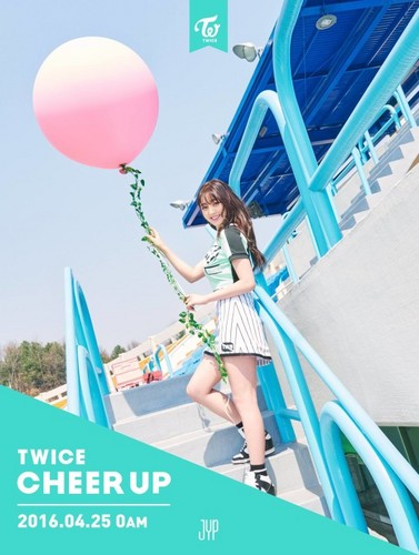 Twice (JYP Ent) वॉलपेपर possibly with a meteorological balloon titled Jihyo ''Cheer Up'' teaser pic