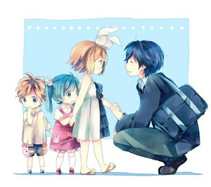 Kaito and Baby Rin, Len, and Miku