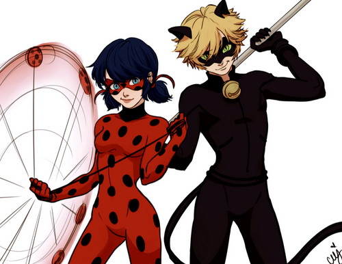 Miraculous Ladybug Hintergrund containing Anime entitled Ladybug and Chat Noir