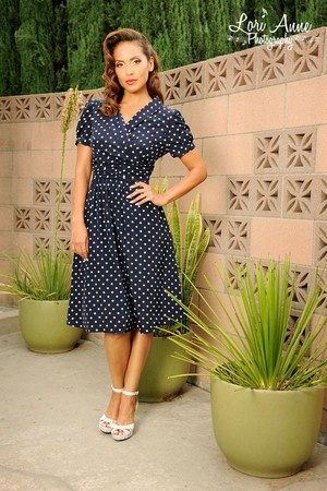 Lesley-Ann Brandt - Pinup Girl Clothing Photoshoot - Ariana Dress in Polka Dot and Navy