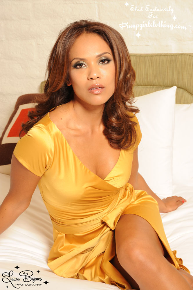 Lesley-Ann Brandt - Pinup Girl Clothing Photoshoot - Gold Ava Dress