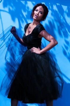 Lesley-Ann Brandt - Pinup Girl Clothing Photoshoot - Lesley-Ann Dress in Black on Black Tulle