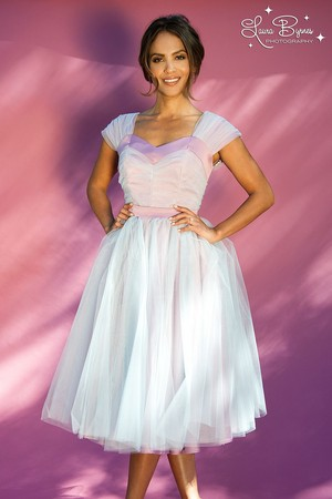 Lesley-Ann Brandt - Pinup Girl Clothing Photoshoot - The Lesley-Ann Dress in Purple with Pale Blue T