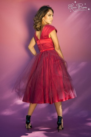 Lesley-Ann Brandt - Pinup Girl Clothing Photoshoot - The Lesley-Ann Dress in Red with Burgundy Tulle