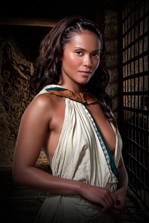 Lesley-Ann Brandt as Naevia in Spartacus: Gods of the Arena
