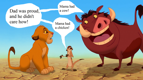 The Lion King wallpaper possibly containing anime titled Lion King Funny picture Timon and Pumbaa as Cow and Chicken